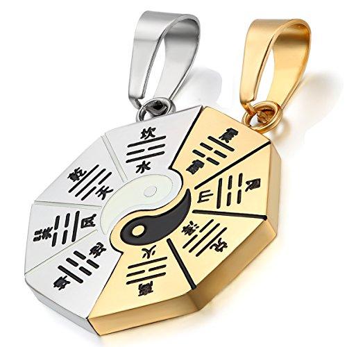 Flongo Mens' Women's 2PCS Vintage Stainless Steel Gold Couple Yin Yang Pendant Necklace Set