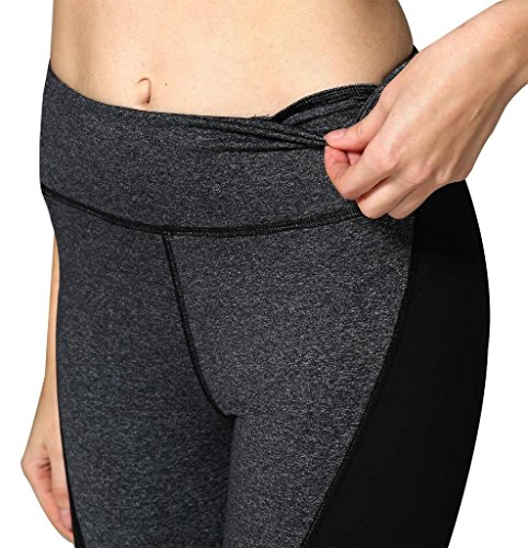 Neonysweets Womens Running Yoga Pants Workout Leggings With Pocket Black Gray S