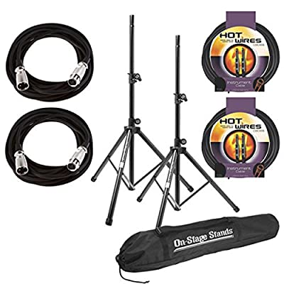 On Stage SSP7900 All Aluminum Speaker Stand Package with Bag With 2 Mic Cables 20 ft. XLR Bulk + 2 Instrument Cables, 10 ft. from On-Stage Stands
