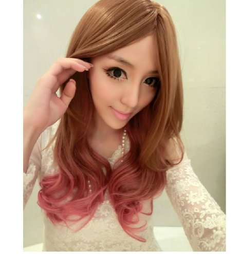 Zwzcyz Japanese Color Gradient Of Curly Hair Animation Harajuku High-Temperature Wire Net(Pink Highlights)