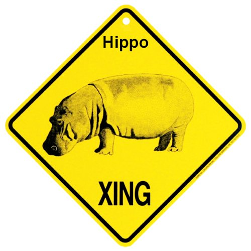 Hippo Xing caution Crossing Sign wildlife Gift