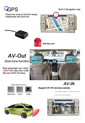 YINUO-7-Zoll-2-Din-Touchscreen-In-Dash-Autoradio-Moniceiver-DVD-Player-GPS-Navigation-7-Farbe-Tastenbeleuchtung-fr-Ford-C-MaxConnectFiestaFocusFusionGalaxyKuga-S-MaxTransitMondeo-SILBER-Rckseiten-Kame