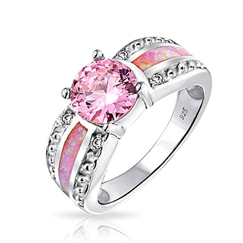 Bling Jewelry Pink Synthetic Opal Inlay October Birthstone Sterling Silver Ring