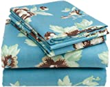 Pinzon 160-Gram Printed Flannel Queen Sheet Set, Chocolate Floral