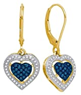 Heart Earrings Blue Diamond 10k Gold