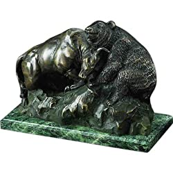 Bronze Wall Street Bull & Bear Fight Sculpture on Marble Base