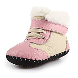 Orgrimmar Baby Girls Boys Velcro Cotton Soft Sole First Walkers Snow Boots (L=Insole len 5.31\