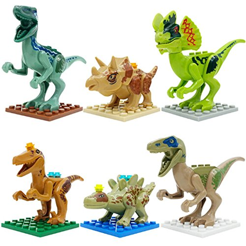 Lego Compatible Jurassic World Dinosaur Toy 6PCS/set Building Blocks Cartoon Movie Jurrassic Park 4 Dinosaur Bricks Toy (Without Original (Goth Cheshire Cat Costume)