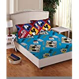 Disney- Athom Trendz- Mickey Mouse Cotton Double Bed Sheet Set- Blue