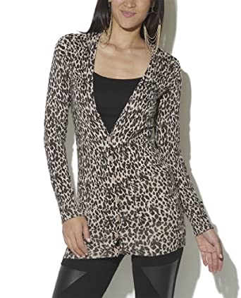 Wet Seal Women's Cheetah Grandpa Cardigan XL Brown Pattern