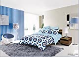 Lt Queen Size 100% Cotton 4-pieces Modern White and Blue Geometric Pattern Flowers Floral Prints Duvet Cover Set/bed Linens/bed Sheet Sets/bedclothes/bedding Sets/bed Sets/bed Covers/5-pieces Comforter Sets (4)