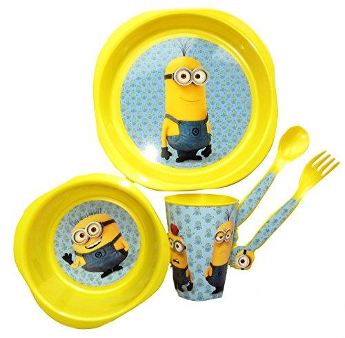 """Despicable Me - Set da pranzo per bambini in plastica, 5 pezzi, con i personaggi di """"Cattivissimo me"""""""