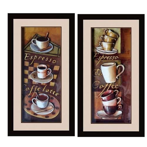 Cafe espresso 3d kitchen dining room wall art decor set of for Kitchen and dining wall art