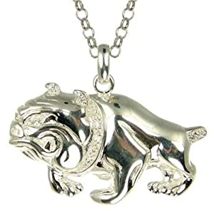 Mens Cubic Zirconia Bulldog Pendant Necklace Silver Belcher Chain 51cm Length Model B20 Sps6336