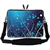 """15 15.6 inch Blue Swirl Design Laptop Sleeve Bag Carrying Case with Hidden Handle & Adjustable Shoulder Strap for 14"""" 15"""" 15.6"""" Apple Macbook, Acer, Asus, Dell, Hp, Sony, Toshiba, and More"""