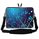 15 15.6 inch Blue Swirl Design Laptop Sleeve Bag Carrying Case with Hidden Handle & Adjustable Shoulder Strap for 14