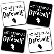 Get Fatang Best Spell Ever Funny Crossover Printed MDF Coasters Set, Black N White (10.16 Cm X 10.16 Cm, Pack...