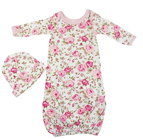 PoshPeanut Newborn Girl's Floral Infant Gown Layette Combo with Beanie
