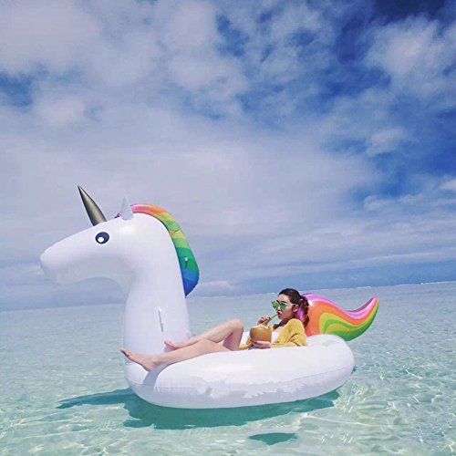Extra-gro-Aufblasbar-Schwebebett-Allgemein-Erwachsene-Kinder-Schwimmen-Ring-Wasser-Erholung-Freizeit-Stuhl-von-2-3-Personen-fr-Open-Space-Einhorn