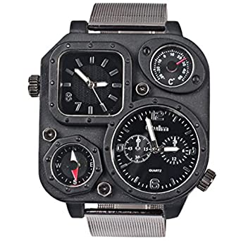 Leio 1169 Black Reticular Iron Chain Strap Square Double Dial Outdoor Cycling Watches with a Compass and a Thermometer