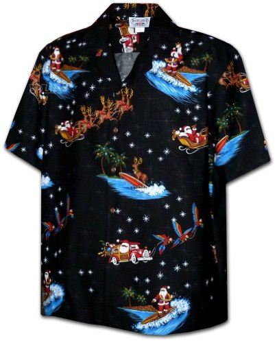Santa Reindeer and Parrots Christmas Hawaiian Shirt
