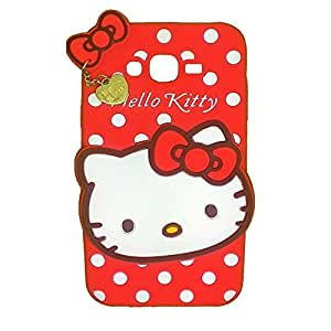 Cute Hello Kitty Silicone With Pendant Back Case Cover For Samsung Galaxy J7 (Red)