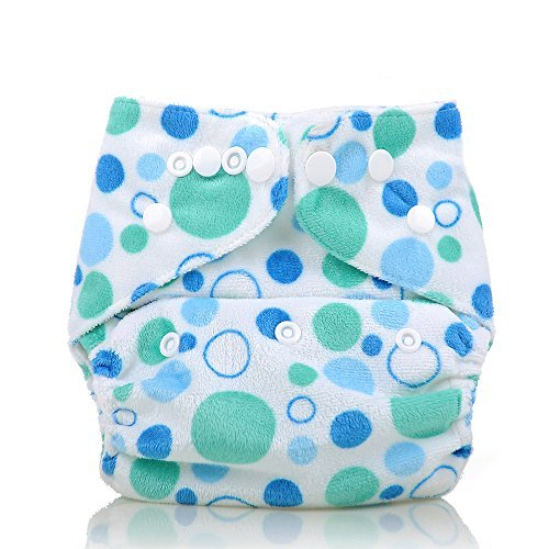 Reusable Washable Microfleece One Size Cloth Diapers, Green&Blue Dots - 1