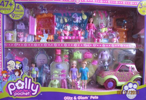 polly-pocket-glitz-glam-pets-superset-playset-3-sets-in-1-w-47-pieces-2007-by-polly-pocket