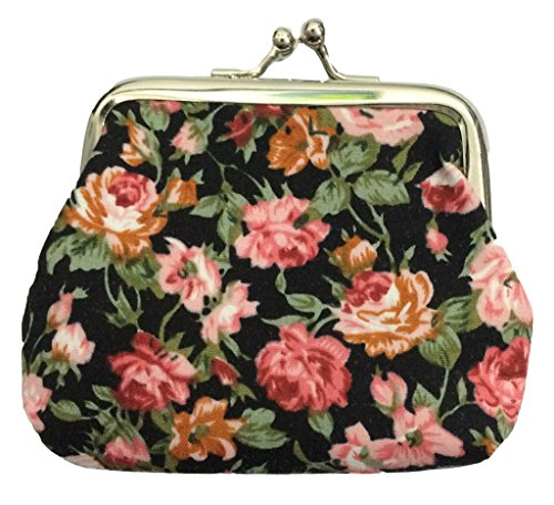 King Ma Women's Vintage Style Floral Mini Cute Canvas Coin Purse (2 pack) (Vintage Coin Purse compare prices)