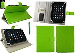 Emartbuy® Alcatel One Touch Evo 7 Tablet 7 Inch Universal Range Green Plain Multi Angle Executive Folio Wallet Case Cover With Card Slots + Stylus