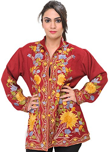 Exotic India Garnet-Red Kashmiri Jacket With Ari Embroidered Large Flowers - Red