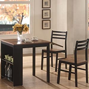 Coaster Home Furnishings 130015 Casual Dining Room 3 Piece Set, Walnut and Black
