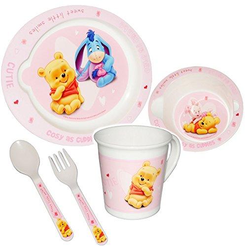 """alles-meine.de GmbH 5 tlg. Geschirrset - """" Disney Winnie the Pooh - rosa / pink """" - Trinktasse + hoher Teller + Müslischale / Suppenschüssel + Löffel + Gabel - Kindergeschirr Frühstücksset - Kunststoff - für Mädchen / Eßlerngeschirr - Eßlernbesteck - Puuh Ferkel - Babygeschirr - Eßlernset Plastik - Kunststoffgeschirr - Geschirr Set - Camping"""