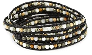 Chan Luu White Mother-Of-Pearl with Pyrite, and Picture Jasper Mixed on Black Leather Bracelet