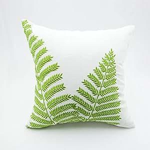 Embroidery Cream Decorative Pillows : Amazon.com - Green Pillow Cover, Throw Pillow Cover, Cream Pillow Case, Green Fern Embroidery ...