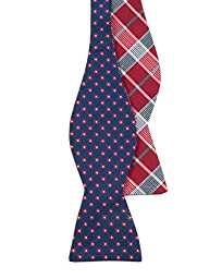 Anemones Plaid 100% Woven Silk Navy and Red Reversible Self-Tie Bow Tie
