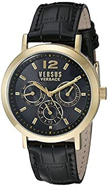 buy Versus By Versace Unisex Sor020015 Manhasset Gold Ion-Plated Watch With Black Leather Band