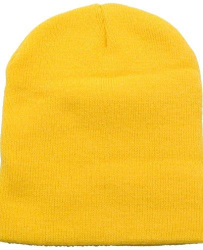 Knit Short Beanie Ski / Snowboard Cap,Yellow