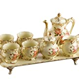 Ufingo-8 Piece Creative European England Luxury Hand Painted Red And Gold Rose Flower Ivory Porcelain Ceramic Coffee Set Tea Set Tea Service For Wedding