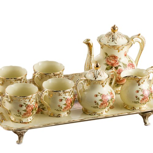 ufengke®8 Piece Creative European England Luxury Hand Painted Red And Gold Rose Flower Ivory Porcelain Ceramic Coffee Set Tea Set Tea Service For Wedding 0