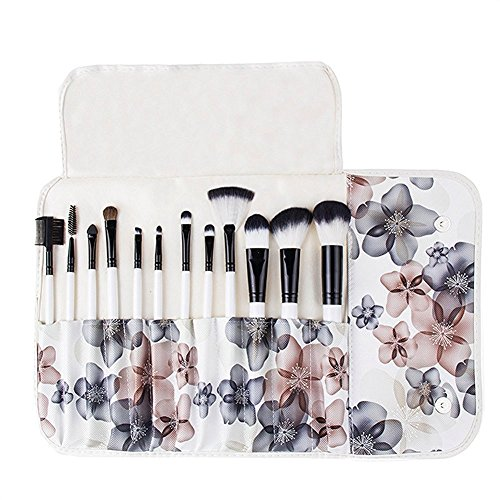 BeautyKate 12 PCS Makeup Brushes Set (White) with Peach Flower Pattern Case(Blue)