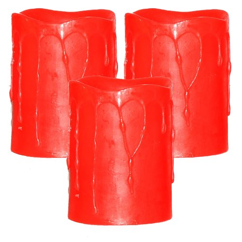 Dfl 3X4 Inch Flameless Real Wax Dripping Led Candle With Timer,Battery-Operated,Red,Pack Of 3