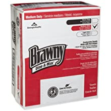 "Brawny Bar and All Purpose Food Towel, Dine-A-Max 29416 White-Green 1/4 Fold Stripe, 24"" Length x 13"" Width (Box of 150)"
