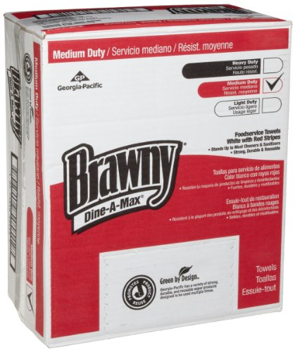 Brawny Bar and All Purpose Food Towel, Dine-A-Max 29416 White-Green 1/4 Fold Stripe, 24
