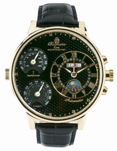 Burgmeister Montana BM309222 Herren Automatik Uhr Edelstahl vergoldet Temperatur und Luftfeuchtigkeitsmesser XXXL (54mm)