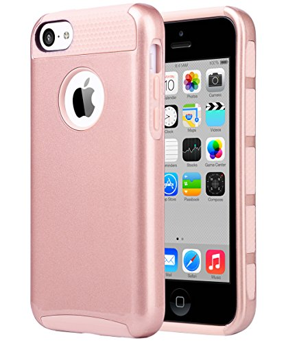 iPhone 5C Case, ULAK Slim Lightweight 2in1 iPhone 5C Cases Hybrid with Soft Rugged TPU Inner Skin and Hard PC Anti Scratches Protective Cover for Apple iPhone 5C (Rose Gold) (Protective Pink Iphone 5c Case compare prices)