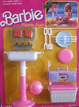 Barbie PICNIC FUN Playset w Barbecue, Food & MORE! (1988 Arco Toys, Mattel) by Arco Toys, Mattel, made in Hong Kong