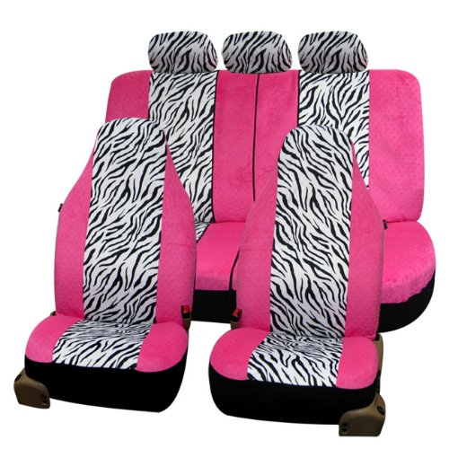 FH FB121115 Zebra Prints Car Seat Covers Airbag Ready And Split Bench Pink White Color