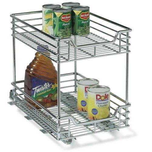 Household Essentials Glidez 2-Tier Chrome Sliding Cabinet Organizer, 11 1/2-Inch Wide