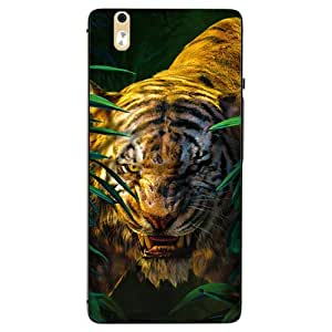 Snazzy Tiger Printed Green Hard Back Cover For InFocus M810